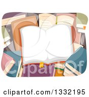 Clipart Of A Book With Blank Open Pages Over Other Books Royalty Free Vector Illustration