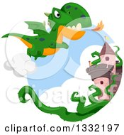 Clipart Of A Green Dragon Flying Near A Castle Royalty Free Vector Illustration by BNP Design Studio