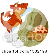 Clipart Of A Red Dragon Flying To A Nest With Eggs Royalty Free Vector Illustration by BNP Design Studio
