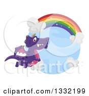 Clipart Of A Purple Dragon Flying Under A Rainbow Royalty Free Vector Illustration