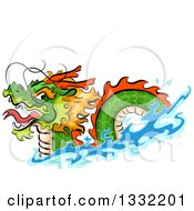 Clipart Of A Swimming Chinese Dragon Royalty Free Vector Illustration by BNP Design Studio