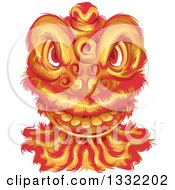 Clipart Of A Chinese New Year Dragon Face Royalty Free Vector Illustration