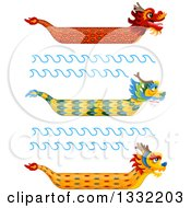 Clipart Of Chinese Dragon Boats And Waves Royalty Free Vector Illustration by BNP Design Studio