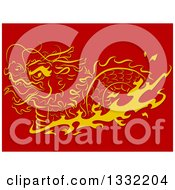 Golden Swimming Chinese Dragon With Flames On Red