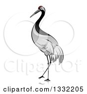 Clipart Of A Walking Crane Bird Royalty Free Vector Illustration by BNP Design Studio