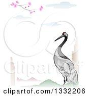 Clipart Of A Crane Bird In An Asian Lanscape Border Royalty Free Vector Illustration