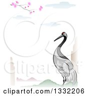 Crane Bird In An Asian Lanscape Border