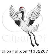 Clipart Of A Crane Bird Flying Royalty Free Vector Illustration