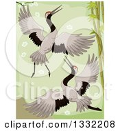 Clipart Of A Crane Pair Flying By Bamboo Royalty Free Vector Illustration