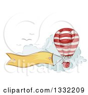 Clipart Of A Sketched Hot Air Balloon With A Banner Trailing Over Clouds With Birds Royalty Free Vector Illustration