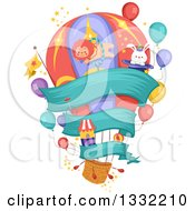 Clipart Of A Hot Air Balloon With Carnival Items And A Banner Royalty Free Vector Illustration