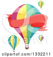Clipart Of A Blank Red Banner And Hot Air Balloons Royalty Free Vector Illustration