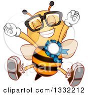 Clipart Of A Cartoon Champion Bee Jumping And Wearing A Placement Ribbon Royalty Free Vector Illustration