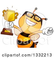 Clipart Of A Happy Bee Cheering And Holding Up A Trophy Royalty Free Vector Illustration