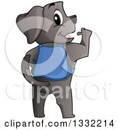 Clipart Of A Rear View Of A Proud Guide Dog Royalty Free Vector Illustration