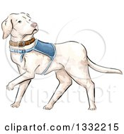 Clipart Of A Walking White Guide Dog Royalty Free Vector Illustration