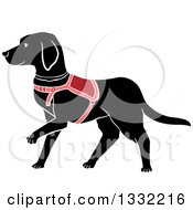 Clipart Of A Walking Black Labrador Guide Dog Royalty Free Vector Illustration by BNP Design Studio