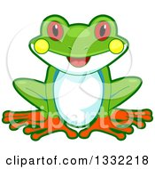 Clipart Of A Cute Happy Tree Frog Sitting Royalty Free Vector Illustration
