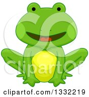 Clipart Of A Cartoon Happy Green Frog Sitting Royalty Free Vector Illustration