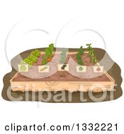 Clipart Of A Raised Garden Bed With Rows Of Vegetables And Labels Royalty Free Vector Illustration