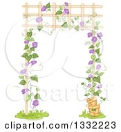 Clipart Of A Purple Flowering Vine Growing Up A Trellis Royalty Free Vector Illustration