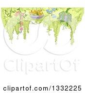 Clipart Of Hanging Potted Plants With Flowers And Tree Foliage Over White Text Space Royalty Free Vector Illustration