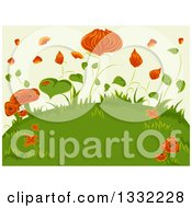 Clipart Of A Background Of Orange Flowers Mushrooms And Green Leaves On A Hill Royalty Free Vector Illustration