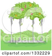 Garden Gazebo With Flowers And Vines Growing On The Roof