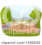 Clipart Of A Brick Patio With A Table Chairs And Potted Trees Royalty Free Vector Illustration