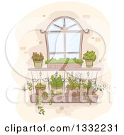 Sketched Window With Planter Shelves
