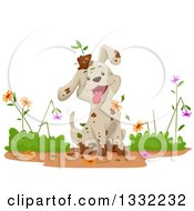 Clipart Of A Happy Dirty Puppy Dog Ruining And Playing In A Flower Garden Royalty Free Vector Illustration
