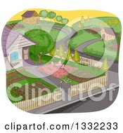 Clipart Of A Sketched Neighborhood With A Garden In The Foreground Royalty Free Vector Illustration