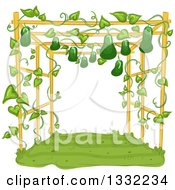 Clipart Of A Garden Trellis With Gourds Growing And Hanging Royalty Free Vector Illustration