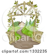 Clipart Of A Sketched Pathway Leading To A House With A Vine Covered Arch Royalty Free Vector Illustration by BNP Design Studio