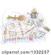 Clipart Of A Sketched Open Garden Journal With Flowers And Tools Royalty Free Vector Illustration
