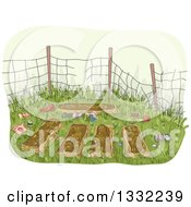 Clipart Of A Sketched Abandoned Garden With Trash Royalty Free Vector Illustration
