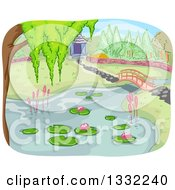 Clipart Of A Pond And Foot Bridge In A Botanical Garden Royalty Free Vector Illustration