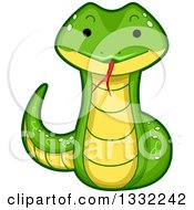 Clipart Of A Cute Happy Snake Royalty Free Vector Illustration