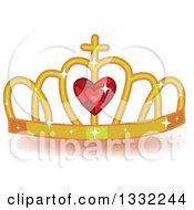 Clipart Of A Jeweled Gold And Red Ruby Heart Crown Royalty Free Vector Illustration by BNP Design Studio