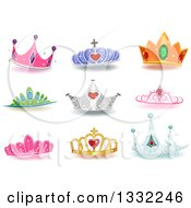 Clipart Of Jeweled And Colorful Princess Crowns With Shadows Royalty Free Vector Illustration by BNP Design Studio
