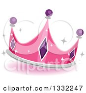 Clipart Of A Jeweled Pink Princess Crown Royalty Free Vector Illustration by BNP Design Studio