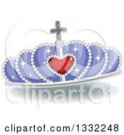 Clipart Of A Jeweled Purple And Red Ruby Heart Crown Royalty Free Vector Illustration by BNP Design Studio