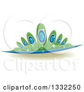 Clipart Of A Jeweled Green And Blue Crown Royalty Free Vector Illustration by BNP Design Studio