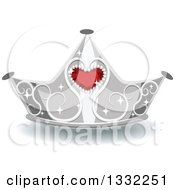 Clipart Of A Jeweled Silver And Red Ruby Heart Crown Royalty Free Vector Illustration