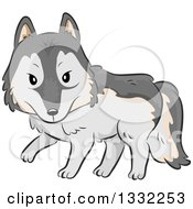Clipart Of A Cartoon Wolf Walking Royalty Free Vector Illustration by BNP Design Studio