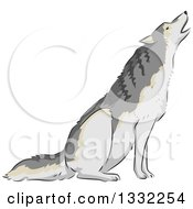 Clipart Of A Wolf Howling Royalty Free Vector Illustration by BNP Design Studio