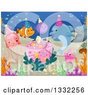 Clipart Of Sea Creatures Having A Birthday Party Underwater Royalty Free Vector Illustration by BNP Design Studio