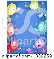Clipart Of A Border Of Colorful Fish Waving And Bubbles Over Blue Royalty Free Vector Illustration