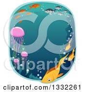 Clipart Of An Oval Underwater Scene With Fish And Seaweed Royalty Free Vector Illustration by BNP Design Studio