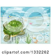 Clipart Of A Sea Turtle Swimming Underwater Royalty Free Vector Illustration